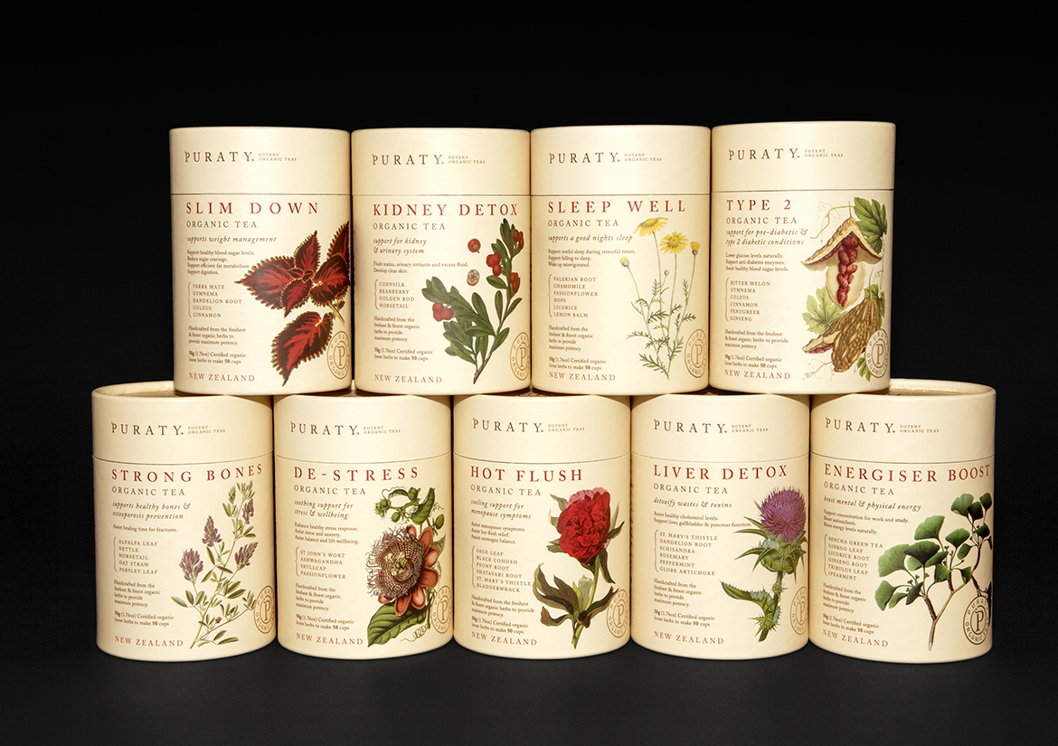 puraty organic tea packaging redfiredesign