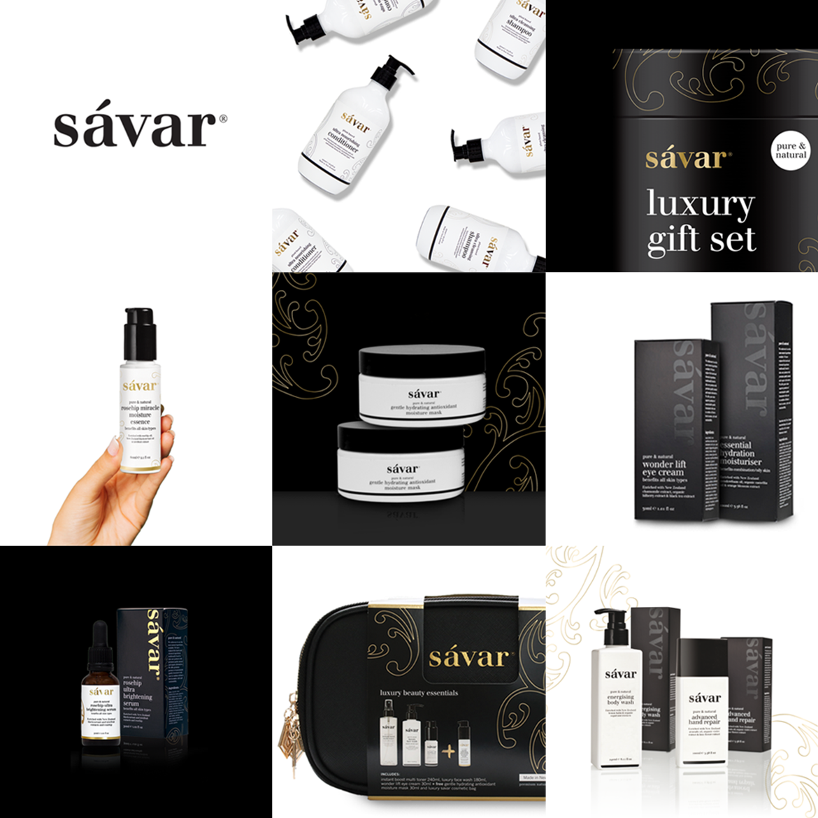 Sávar Ultra Premium Natural Skincare Brand and Packaging Design