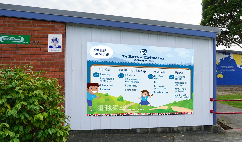 Tirimoana-School-Maori-sign-outdoor-wall